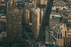 New York, USA - May 25, 2016: Flatiron Building aerial view in New York City Manhattan with skyscrapers. View from Empire State Bu royalty free stock photography