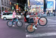 New York, USA - May 26, 2018: Guys on bikes at the Times Square stock image