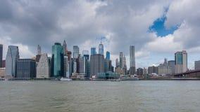 Hyperlapse video of Manhattan skyline and Brooklyn Bridge stock video footage