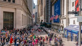 4k timelapse video of New York Stock Exchange. New York, USA - May 7, 2018: 4k timelapse video of New York Stock Exchange