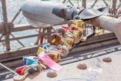 New York, USA- May 21, 2014. Love locks on Brooklyn bridge in Ne Stock Images
