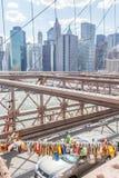 New York, USA- May 21, 2014. Love locks on Brooklyn bridge in Ne Royalty Free Stock Image