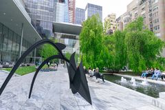 The main garden of MoMA, Museum of Modern Art in Manhattan, NYC. New York, USA - May 12, 2018 : The main garden of MoMA, Museum of Modern Art in Manhattan, NYC stock images