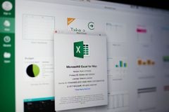 Microsoft excel menu. New york, USA - May 25, 2018: Microsoft excel menu on laptop screen close up royalty free stock photography