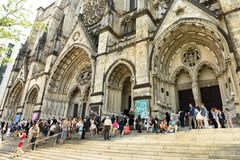New York, USA - May 25, 2018: People near The Cathedral Church o royalty free stock photo