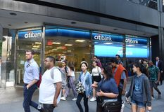 New York, USA - May 30, 2018: People on the street near the Citi. Bank in New York stock image