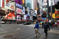 People in Times Square. New York, USA - May 2, 2018: People in Times Square royalty free stock image