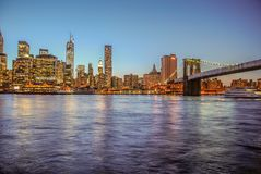 New York, USA, May 3rd 2013. Nice view of the skyline of Manhattan at sunset, since Brooklyn stock photo