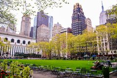 New York, USA, May 3rd 2013. People resting in a park of Manhattan stock photo