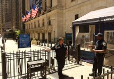 New York, USA - May 24, 2018: Security at the entranceof New Yor. New York, USA - May 24, 2018: Security at the entrance of New York Stock Exchange Stock Images