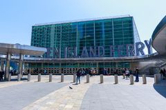 The Staten Island Ferry terminal in Lower Manhattan, NYC. New York, USA - May 9, 2018 : The Staten Island Ferry terminal in Lower Manhattan, NYC stock photo