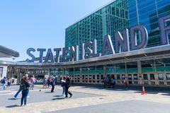 The Staten Island Ferry terminal in Lower Manhattan, NYC. New York, USA - May 9, 2018 : The Staten Island Ferry terminal in Lower Manhattan, NYC royalty free stock photo