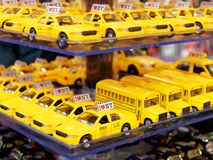 Tiny yellow taxis souvenirs in Manhattan. NEW YORK, USA - MAY 2018 - Tiny yellow taxis souvenirs in Manhattan Royalty Free Stock Photography
