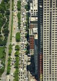 New York, USA - May 26, 2018: Top view on the cars in road on th stock images