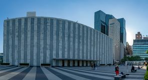 NEW YORK, USA - MAY 25 2018 United Nations building at sunset. NEW YORK, USA - MAY 25 2018 - United Nations headquartered in complex designed by architect Oscar stock images
