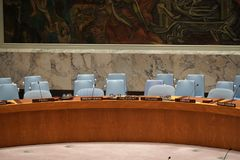 NEW YORK, USA - MAY 25 2018 United Nations security council hall. NEW YORK, USA - MAY 25 2018 - United Nations security council hall headquartered in New York royalty free stock image