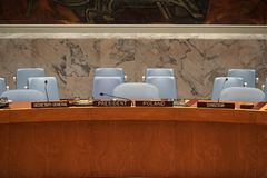 NEW YORK, USA - MAY 25 2018 United Nations security council hall. NEW YORK, USA - MAY 25 2018 - United Nations security council hall headquartered in New York stock images