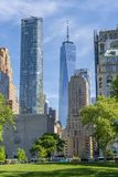 View of skyscrapers in Lower Manhattan of New York City stock photo