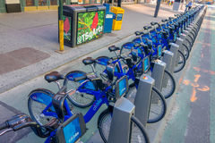 NEW YORK, USA - NOVEMBER 22, 2016: Bike rental on Times Square parked in a row in the street in New York city USA Royalty Free Stock Photo