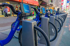 NEW YORK, USA - NOVEMBER 22, 2016: Bike rental on Times Square parked in a row in the street in New York city USA Stock Image