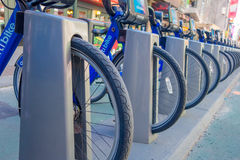 NEW YORK, USA - NOVEMBER 22, 2016: Close up of bike rental on Times Square parked in a row in the street in New York Stock Photography