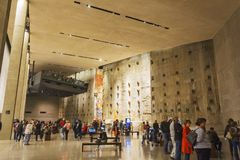 Interior of the National 9-11 Memorial Museum with the WTC foundation remains. New York, USA, november 2016: interior of the National 9-11 Memorial Museum with Royalty Free Stock Photo