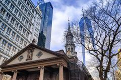 St. Paul`s Chapel and One World Trade Center at Lower Manhattan in New York City, USA royalty free stock images