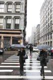 Pedestrians at Rainy Chinatown Manhattan New-York Royalty Free Stock Photo
