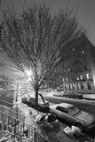 Snow in Harlem Manhattan New-York Black & White Stock Photography