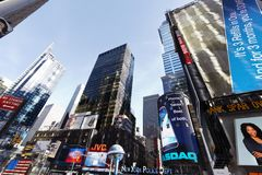 Wide Angle Times Square Skyscrapers Manhattan Stock Photos