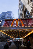 42nd St. Manhattan McDonald's. New-York, USA - November 6th, 2012: Wide angle view of big M sign at the entrance of the McDonald's branch located at 220 W 42nd Royalty Free Stock Photos