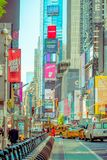 NEW YORK, USA - NOVEMBER 22, 2016: Times Square, featured with Broadway Theaters and animated LED signs, is a symbol of Royalty Free Stock Photo