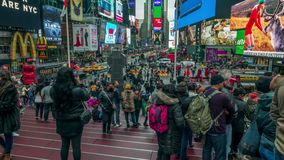 Tourists and traffic at Times Square . 4K time lapse stock video footage
