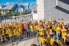 NEW YORK, USA - NOVEMBER 22, 2016: Unidentified ecuadorian fans in the line to enter to Metlife Stadium to see the. Football game in New York Usa stock photography