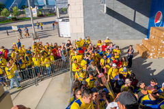 NEW YORK, USA - NOVEMBER 22, 2016: Unidentified ecuadorian fans in the line to enter to Metlife Stadium to see the. Football game in New York Usa stock photos
