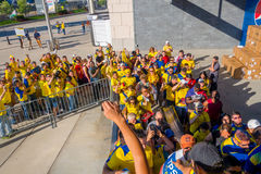 NEW YORK, USA - NOVEMBER 22, 2016: Unidentified ecuadorian fans in the line to enter to Metlife Stadium to see the. Football game in New York Usa royalty free stock photo
