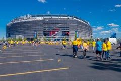 NEW YORK, USA - NOVEMBER 22, 2016: Unidentified ecuadorian fans walking to enter to Metlife Stadium to see the football. Game in New York Usa royalty free stock photo