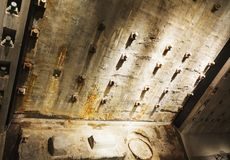 Detailed view of the Twin Tower foundations remains in the National 9-11 Memorial Museum in lower Manhattan, New York. New York, USA, november 2016: Detailed stock photo