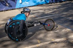 Wheelchair division participants during Annual New York City Marathon royalty free stock images