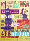 New York USA NYC affisch4TH Juli upplaga vektor illustrationer
