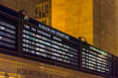 Grand Central Terminal. NEW YORK, USA - OCT 8, 2015: Schedule table at the Grand Central Terminal (GCT) is a commuter railroad terminal. It's located at  42nd Royalty Free Stock Photo