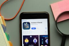 New York, USA - 26 October 2020: Connect 4 Social mobile app logo on phone screen close up, Illustrative Editorial