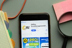 New York, USA - 26 October 2020: GNPlus Golf Network mobile app logo on phone screen close up, Illustrative Editorial