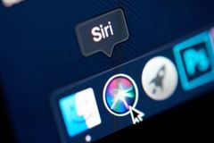 Icon of siri in Mojave OS. New york, USA - october 23, 2018: Icon of siri in Mojave OS on laptop screen close up view stock image