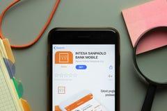New York, USA - 26 October 2020: Intesa Sanpaolo Bank mobile app logo on phone screen close up, Illustrative Editorial