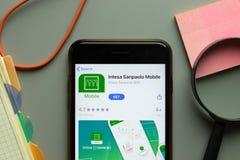 New York, USA - 26 October 2020: Intesa Sanpaolo mobile app logo on phone screen close up, Illustrative Editorial