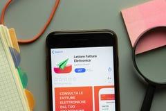 New York, USA - 26 October 2020: Lettore Fattura Elettronica mobile app logo on phone screen close up, Illustrative Editorial