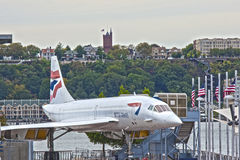 New York,USA - October 10: Supersonic Passenger Airplane Concord. E on Display as a Tourist Attraction in Intrepid Museum in Manhattan, New York City, in October Stock Photography