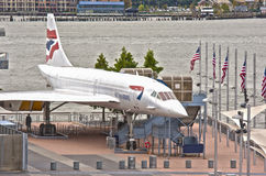 New York,USA - October 10: Supersonic Passenger Airplane Concord. E on Display as a Tourist Attraction in Intrepid Museum in Manhattan, New York City, in October Stock Photo
