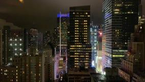 NEW YORK, USA - OCTOBER 1, 2019: Towers at Midtown Manhattan at night